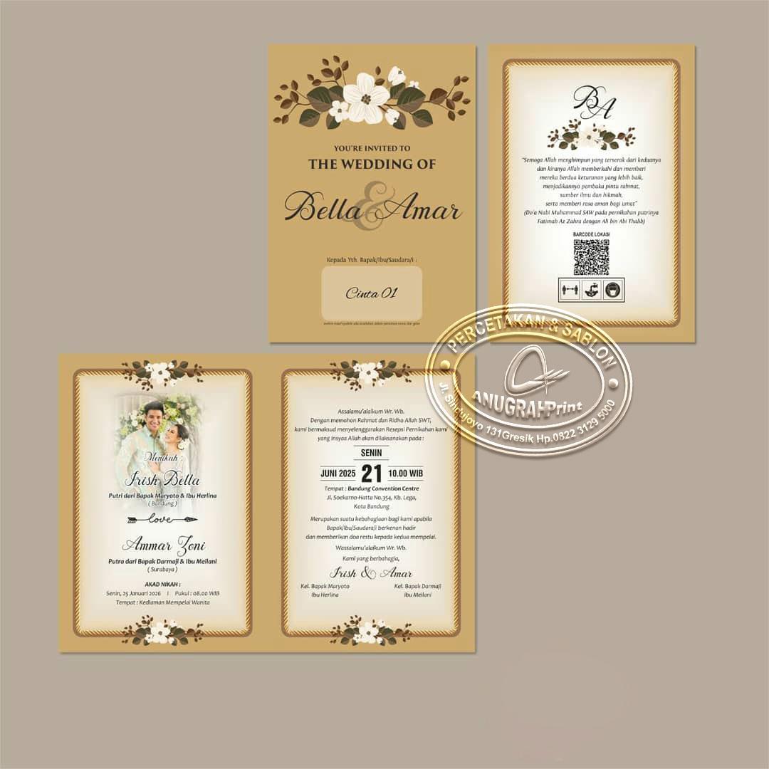 Jual cetak undangan pernikahan cinta 01